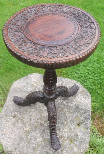 Oriental Carved Hardwood Tripod Wine Table